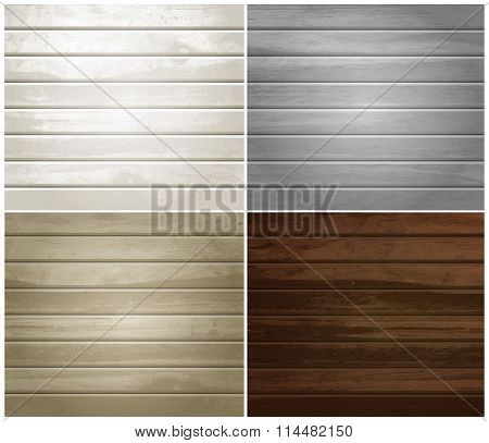 Vector wood textures, natural wooden plank, set of colorful backgrounds. Eps10.