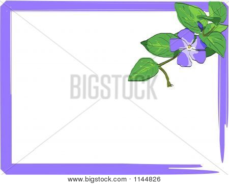 Violet Frame With Watercolor Flower Corner Peace - Vector Illustration