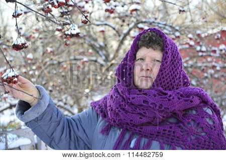 elderly woman in  purple knitted shawl on her head is about Rowan