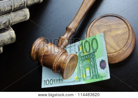 Judges Gavel And Euro Cash  On The Black Table