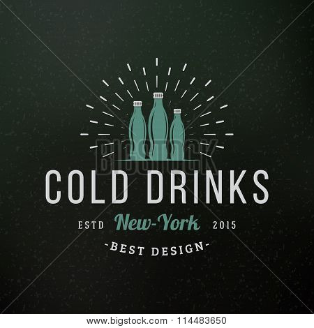 Cold Drinks. Vintage Retro Design Elements For Logotype, Insignia, Badge, Label. Business Sign Templ