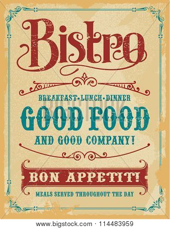Bistro Poster Sign, vintage vector design with removable texture