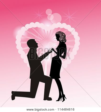 Man on Knee with ring - proposing to woman Retro Style - all separate elements