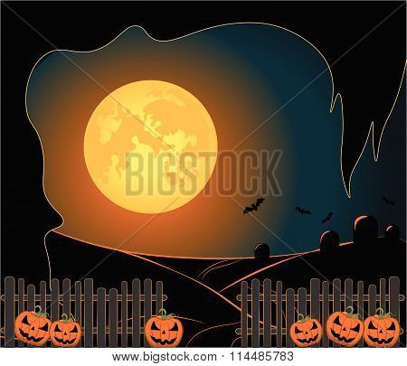 Halloween night moon background