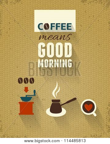 Good Morning Poster, Coffee Theme.