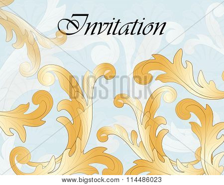 Invitation card with gold ornaments