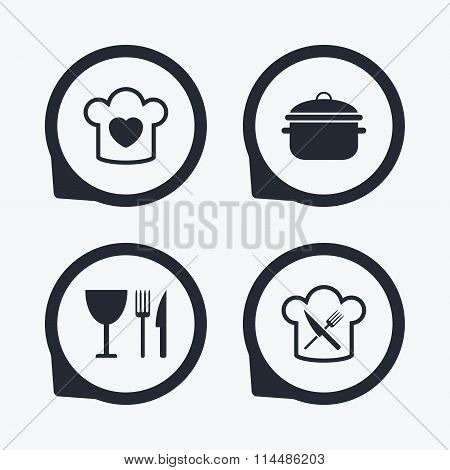 Chief hat, cooking pan icons. Fork and knife.