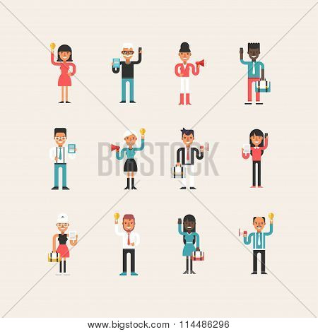 Set Of Flat Style Cartoon Business Man And Women Characters With Business Symbols In Different Poses