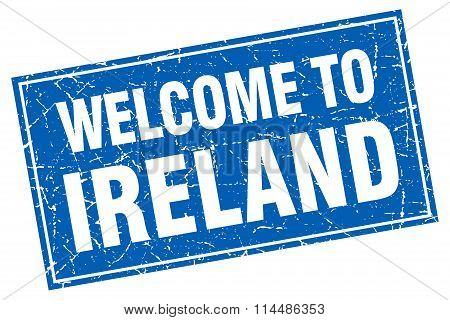 Ireland Blue Square Grunge Welcome To Stamp