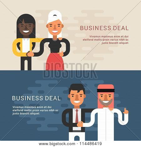 Set Of Flat Style Web Banners  Templates. Vector Illustration Concept Of Successful Partnership. Bus