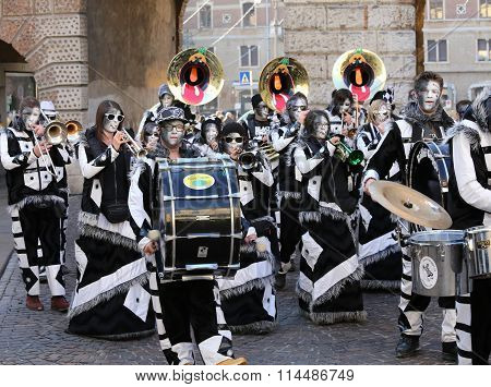 Euro Carnival Event With Thousands Of Musicians Dressed In Mask Costume Parade