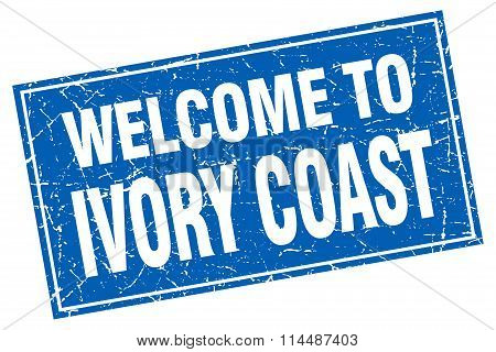 Ivory Coast Blue Square Grunge Welcome To Stamp