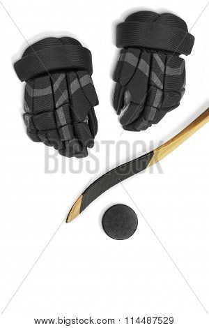 Hockey Stick, Gloves And Puck