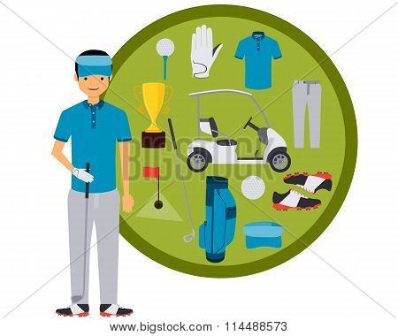 Golf player. Clothes and accessories. Vector illustration