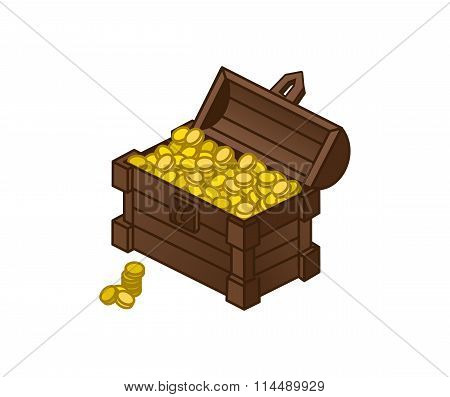Cartoon Vector Drawing Of A Chest Of Gold Coins