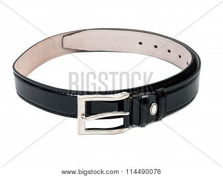 Man's Belt On White Background.