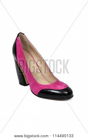 Pink And Black Suede Woman Shoe.