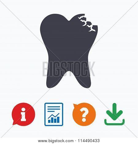Broken tooth sign icon. Dental care symbol.