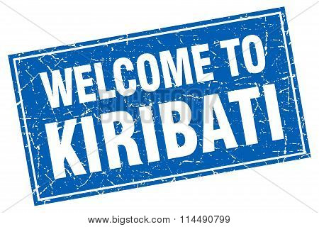 Kiribati Blue Square Grunge Welcome To Stamp