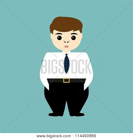 Head Of A Young Businessman Holding Hands In Pockets