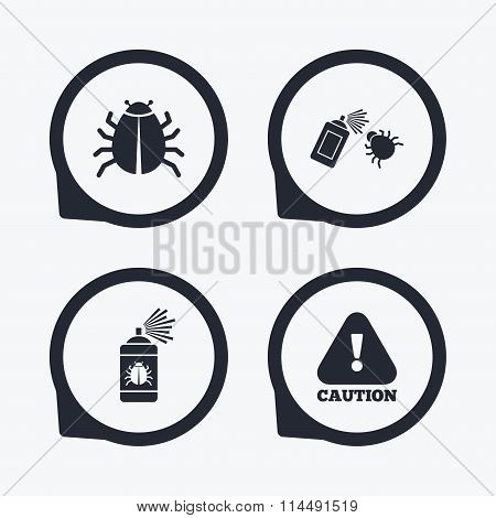 Bug disinfection signs. Caution attention icon.