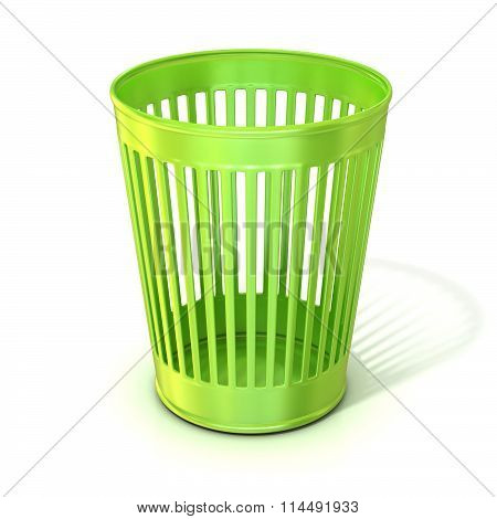 Empty green trash bin garbage can