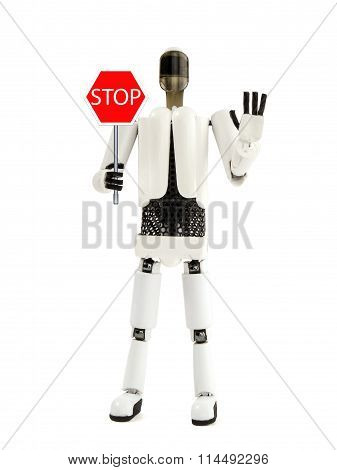 The Robot Shows A Stop Sign
