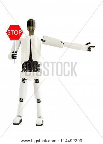 The Robot Shows A Sign Of A Stop And Specifies The Direction