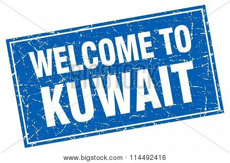 Kuwait Blue Square Grunge Welcome To Stamp