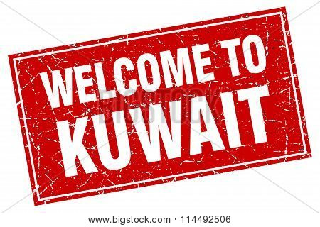 Kuwait Red Square Grunge Welcome To Stamp