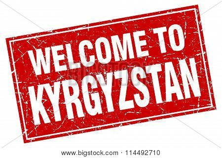 Kyrgyzstan Red Square Grunge Welcome To Stamp