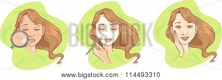 Spa girl with regeneration facial mask. Young girl with facial mask