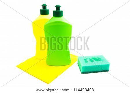 Green Sponge, Rag And Bottles