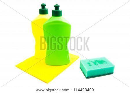 Green Sponge, Rags And Bottles