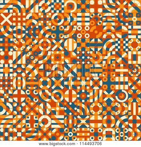 Vector Seamless Teal Orange Color Overlay Irregular Geometric Blocks Quilt Pattern