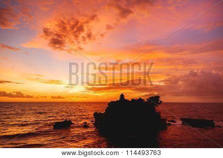 Sunset At Tanah Lot Temple. Bali Island, Indonesia.