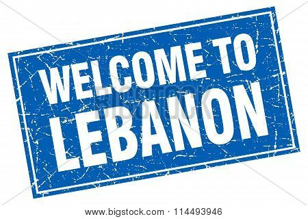 Lebanon Blue Square Grunge Welcome To Stamp