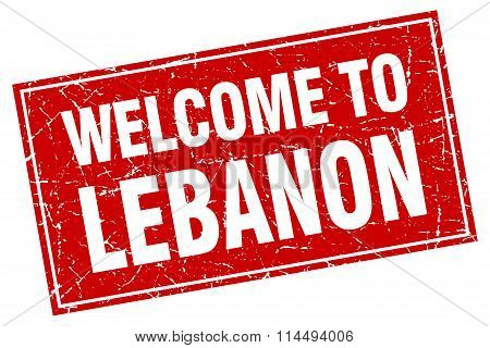 Lebanon Red Square Grunge Welcome To Stamp