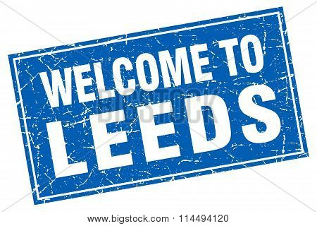 Leeds Blue Square Grunge Welcome To Stamp