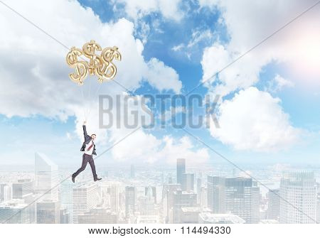Businessman Flying On Three Dollar Baloons