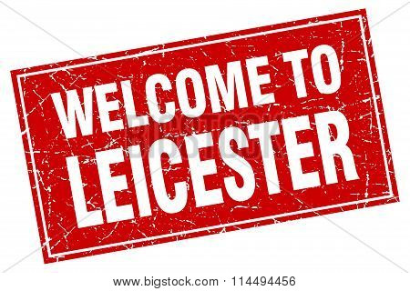 Leicester Red Square Grunge Welcome To Stamp