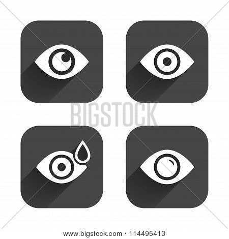 Eye signs. Eyeball with water drop symbols.