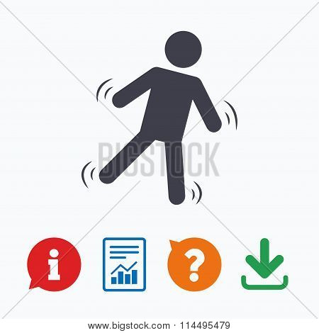 Man falls sign icon. Falling down human symbol.