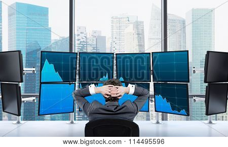Ttrader At Rest In Front Of Screens