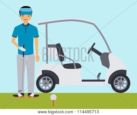 Golfer on the field near the car. Vector illustration