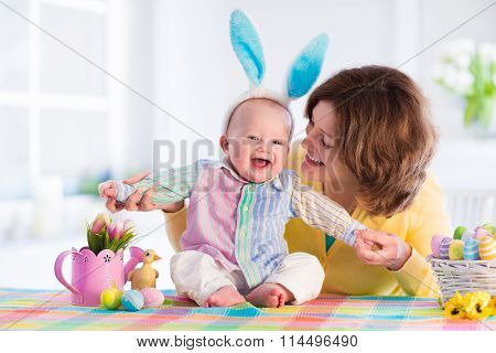 Mother And Child Celebrating Easter At Home