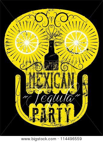 Typographic retro grunge Mexican Party poster with the skull. Vector illustration.