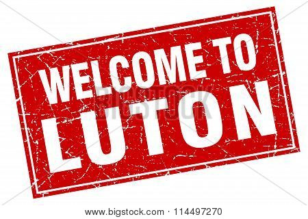 Luton Red Square Grunge Welcome To Stamp