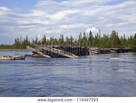 Broken bridge in Northern Russia