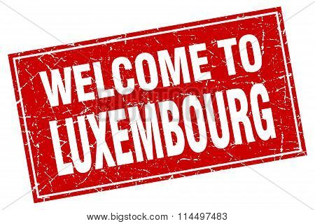 Luxembourg Red Square Grunge Welcome To Stamp